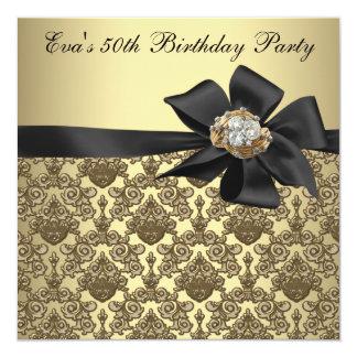Cartão Festa de aniversário preta do damasco 50th do ouro