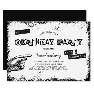 Cartão Festa de aniversário preto e branco da surpresa do