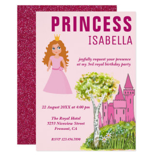 Cartão Festa de aniversário real bonito da princesa