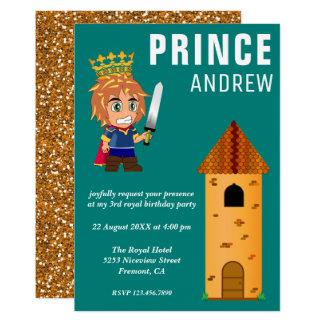 Cartão Festa de aniversário real bonito do príncipe
