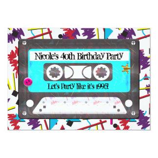 Cartão Festa de aniversário retro do tema dos anos 90 do