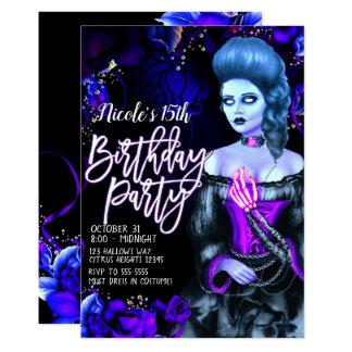 Cartão Festa de aniversário roxa de incandescência dos