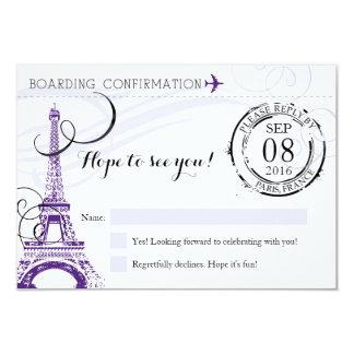 Cartão Festa de aniversário roxa RSVP de Paris France do