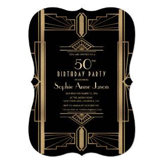 Cartão Festa de aniversário rujindo Glam de Gatsby 50th