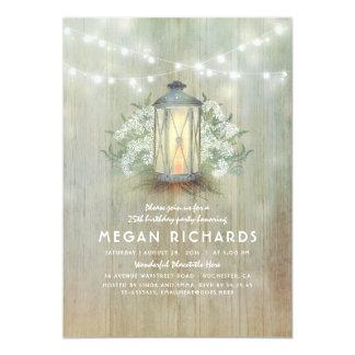 Cartão Festa de aniversário rústica da lanterna e da
