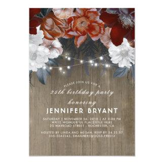 Cartão Festa de aniversário rústica das luzes florais
