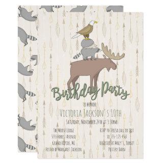 Cartão Festa de aniversário rústica dos animais da