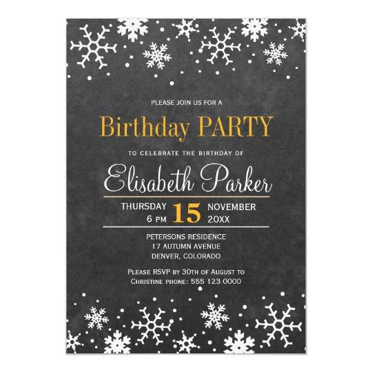 Cartão Festa de aniversário rústica dos flocos de neve do