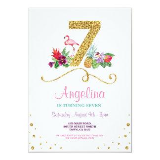 Cartão Festa de aniversário sete do flamingo Aloha a 7a