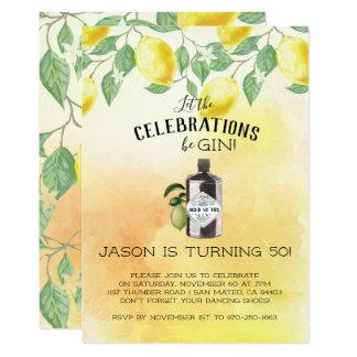 Cartão Festa de aniversário temático da gim