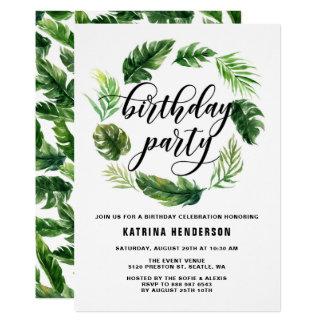 Cartão Festa de aniversário tropical da grinalda das