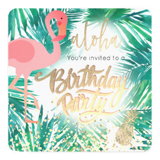 Cartão festa de aniversário tropical do flamingo