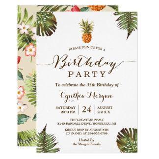 Cartão Festa de aniversário tropical - folhas do abacaxi