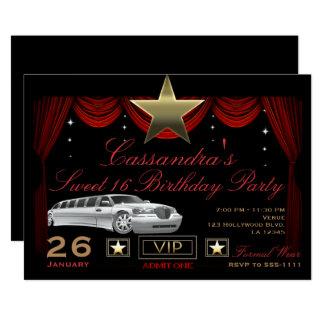 Cartão Festa de aniversário vermelha de Hollywood do Limo