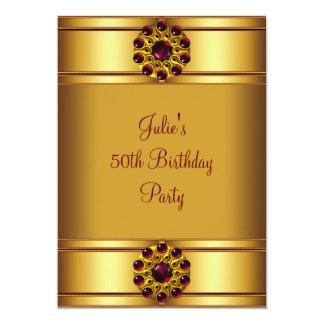 Cartão Festa de aniversário vermelha do ouro da mulher