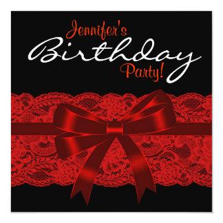 Cartão Festa de aniversário vermelha e preta elegante do