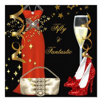 Cartão Festa de aniversário vermelha fantástica do ouro