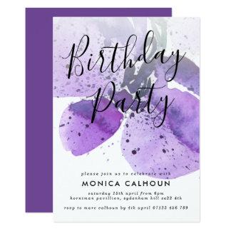 Cartão Festa de aniversário violeta da orquídea da