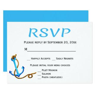 Cartão Festa de casamento azul náutica da âncora de