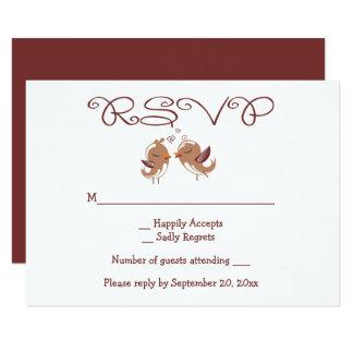 Cartão Festa de casamento de Brown dos Lovebirds de RSVP
