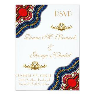 Cartão Festa de casamento étnica do laço de Dashiki do