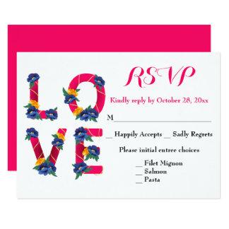 Cartão Festa de casamento floral do amor da flor do rosa