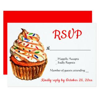 Cartão Festa de casamento vermelha & branca do cupcake de