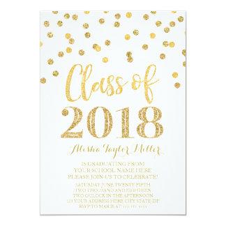 Cartão Festa de formatura 2018 dos confetes do brilho do
