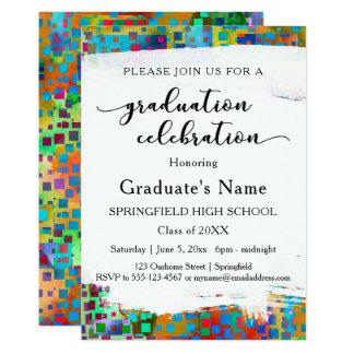 Cartão Festa de formatura colorida brilhante dos confetes