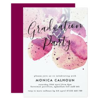 Cartão Festa de formatura cor-de-rosa da orquídea da