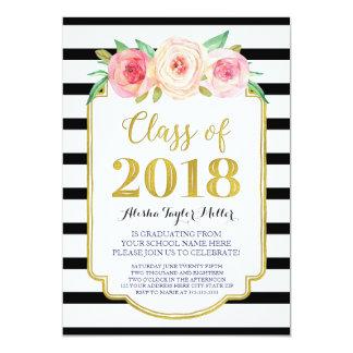Cartão Festa de formatura cor-de-rosa do ouro da listra