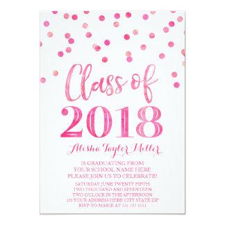 Cartão Festa de formatura cor-de-rosa dos confetes da