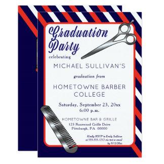 Cartão Festa de formatura da escola do barbeiro do pente