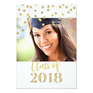 Cartão Festa de formatura da foto dos confetes do brilho