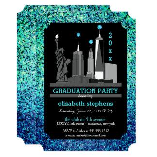 Cartão Festa de formatura da skyline da Nova Iorque de
