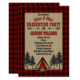 Cartão Festa de formatura de acampamento das verificações