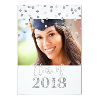 Cartão Festa de formatura de prata da foto dos confetes