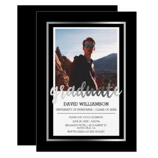 Cartão Festa de formatura de prata & preta da foto da