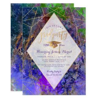 Cartão Festa de formatura do abstrato da galáxia de