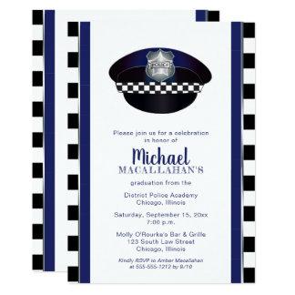 Cartão Festa de formatura do chapéu da bobina da polícia