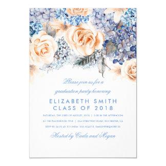 Cartão Festa de formatura floral da aguarela do azul e do