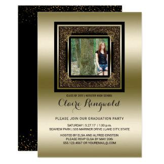 Cartão Festa de formatura Glam preta da foto do brilho do