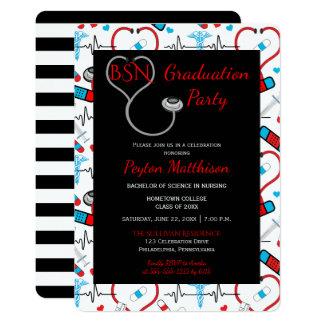 Cartão Festa de formatura médica preta da enfermeira do