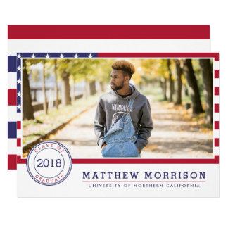 Cartão Festa de formatura patriótica americana da foto da
