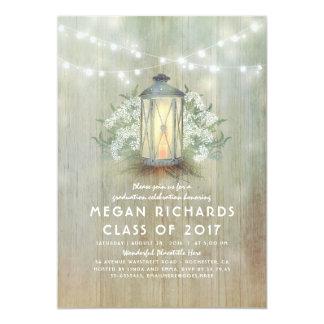Cartão Festa de formatura rústica da lanterna e da