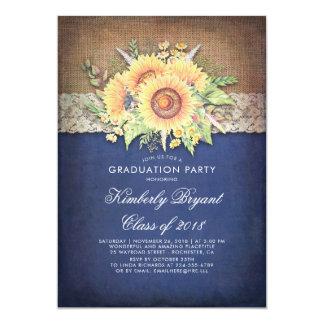 Cartão Festa de formatura rústica do marinho do girassol
