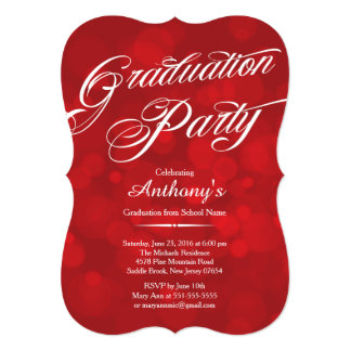 Cartão Festa de formatura vermelha de Bokeh da tipografia