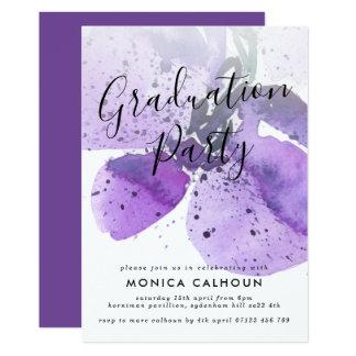 Cartão Festa de formatura violeta da orquídea da aguarela