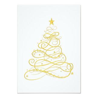 Cartão Festa de Natal - árvore de Natal filigrana dourada