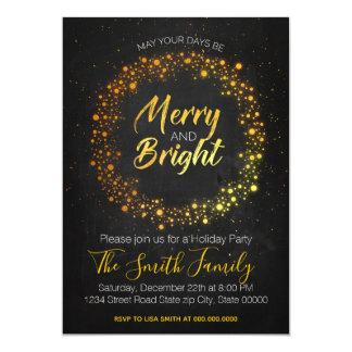 Cartão Festa de Natal brilhante do ouro